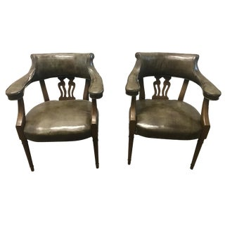 Vintage Mid-Century Leather Arm Chairs - A Pair