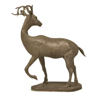 c.1930's French Zinc Stag Sculpture with Bronze Rosettes