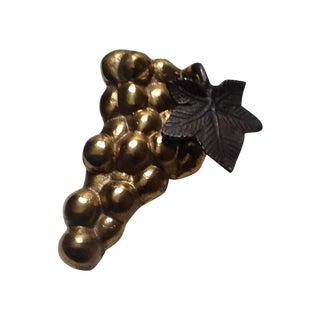 Vintage Brass Grape Cluster With Metal Leaf