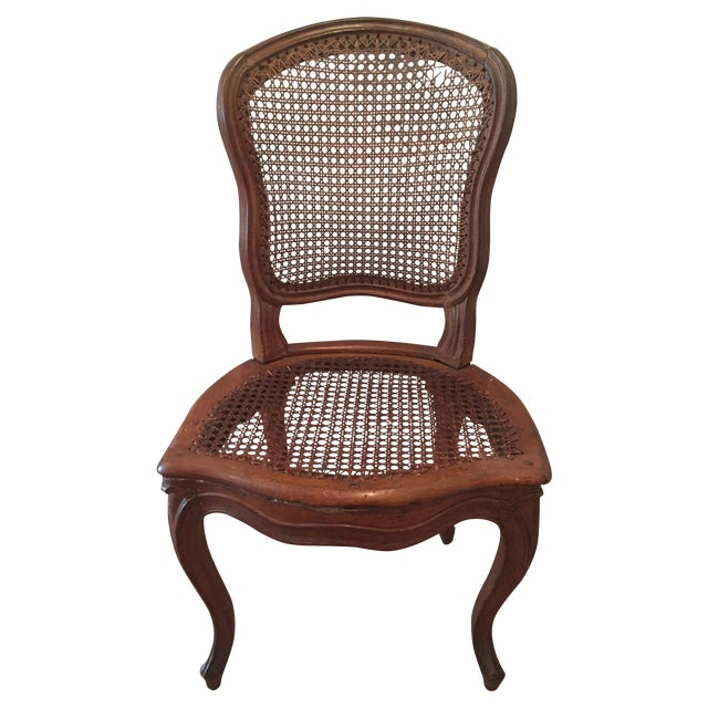 Antique French Hand-Carved Caned Side Chair - Image 1 of 8