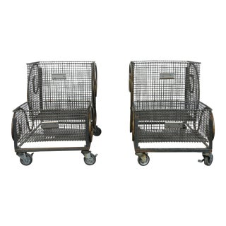 Vintage Industrial Rolling Carts - A Pair