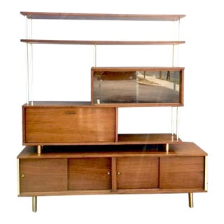 Mid-Century Shelving Unit With Bar