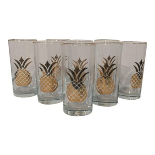Pineapple Design Gold Trimmed Glasses - Set of 8
