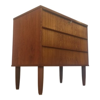 Danish Modern Teak Three Drawer Dresser Commode
