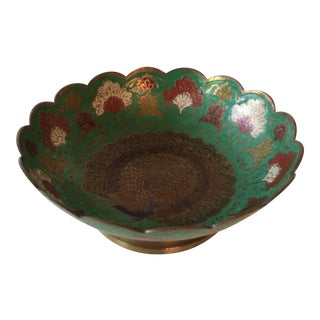 Vintage Brass Scalloped Edged Hand Painted Peacock Bowl