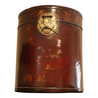 Antique Chinese Leather Hat Box