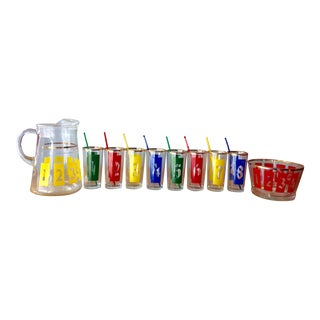 Colorful Number Motif Cocktail Set