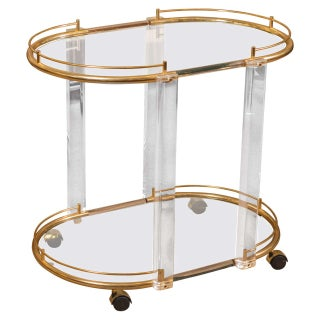 Mid-Century Acrylic & Brass Bar Cart