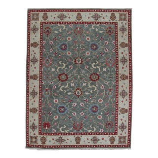 Teal & Red Soumak Design Hand Woven Wool Rug - 9' X 12'