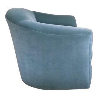 Aqua Velvet Swivel Chair