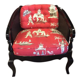 Vintage Lacquer Chinoiserie Armchair