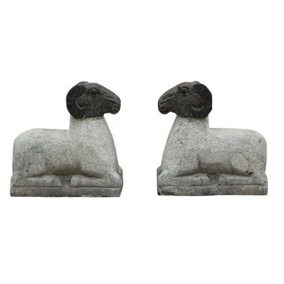 Chinese Vintage Crouching Ram Stone Statues - A Pair