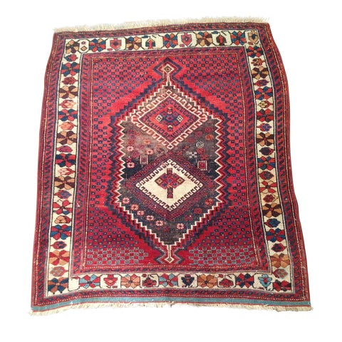"""Image of 1920s Persian Afshar Area Rug - 3'9"""" X 4'6"""""""