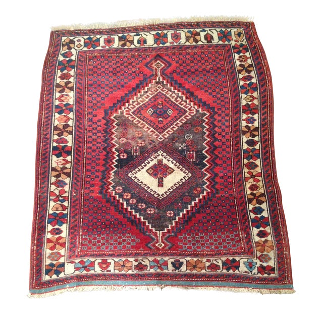 "Image of 1920s Persian Afshar Area Rug - 3'9"" X 4'6"""