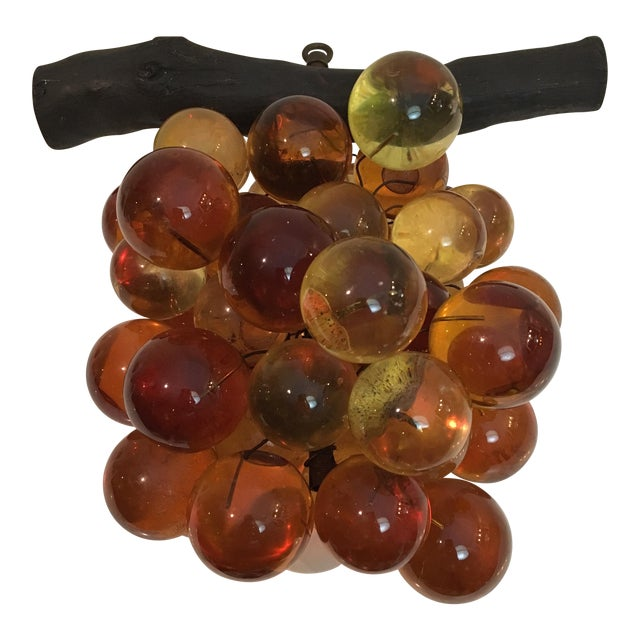 Oversized Vintage Lucite Amber Grapes - Image 1 of 7