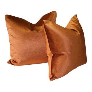 Robert Allen Burnt Orange Luster Velvet Pillows - a Pair