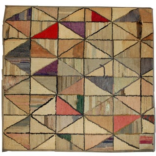 1880s Hand Made Antique Square American Hooked Rug - 2′ × 2′1″