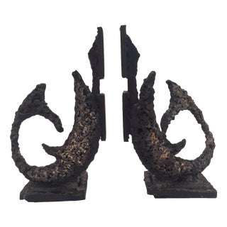Mid-Century Brutalist Bookends - A Pair
