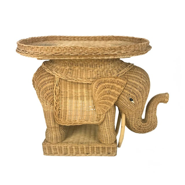 Vintage Woven Wicker Rattan Elephant Side Table - Image 7 of 7