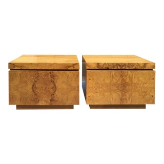 Pair of Milo Baughman Burl Nightstands