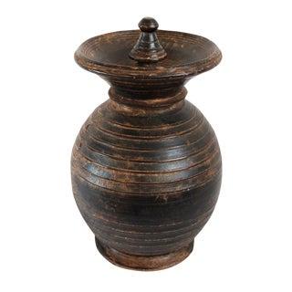 Vintage Nepal Wood Storage Pot