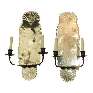 18th Century Style Mirror Backed Two Armed Sconces - A Pair