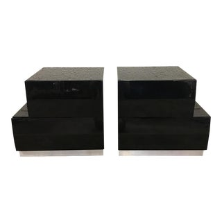1980's Black Lacquer Nightstands - a Pair