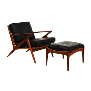 Poul Jensen for Selig Teak and Leather Z Chair & Ottoman