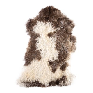 Brown & White Handmade Sheepskin Rug- 2′ × 3′3″