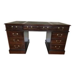 Vintage Ethan Allen Leather Top Executive Desk
