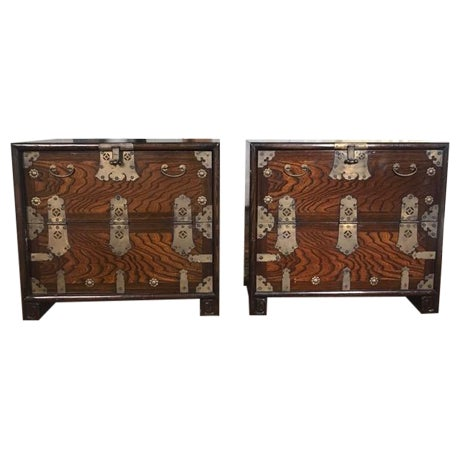 Brass Hardware Chinese Nightstands - A Pair - Image 1 of 10