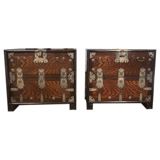 Brass Hardware Chinese Nightstands - A Pair