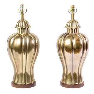 1970's Vintage Frederick Cooper Brass Jar Table Lamps- A Pair