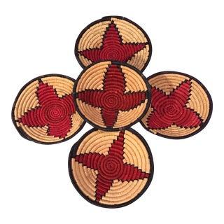 African Sisal Grass Hand Made Decorative Basket Bowls - Set of 5