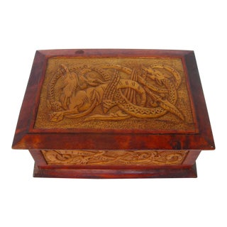 Vintage Wood Box with Carved Creatures
