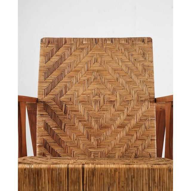 French Modernist Teak and Cane Lounge Chair, 1930s - Image 7 of 10