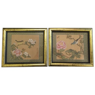 Vintage Silk Painted Birds & Flowers Art - Pair