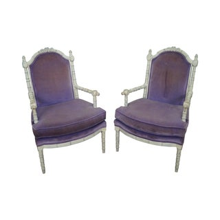 Vintage Faux Bamboo Purple Lounge Chairs - A Pair