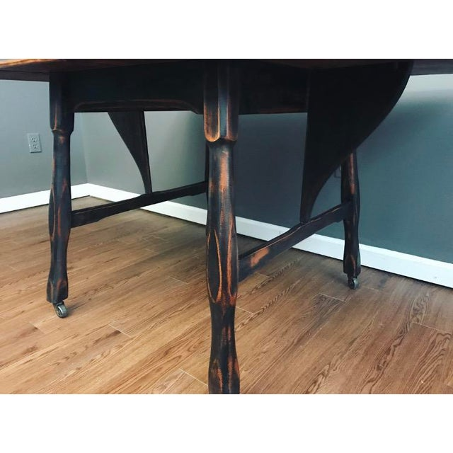Black Distressed Drop Leaf Dining Table & Chairs - Set of 3 - Image 9 of 11