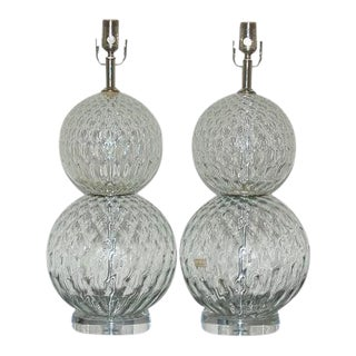 Murano Stacked Ball Lamps in Clear