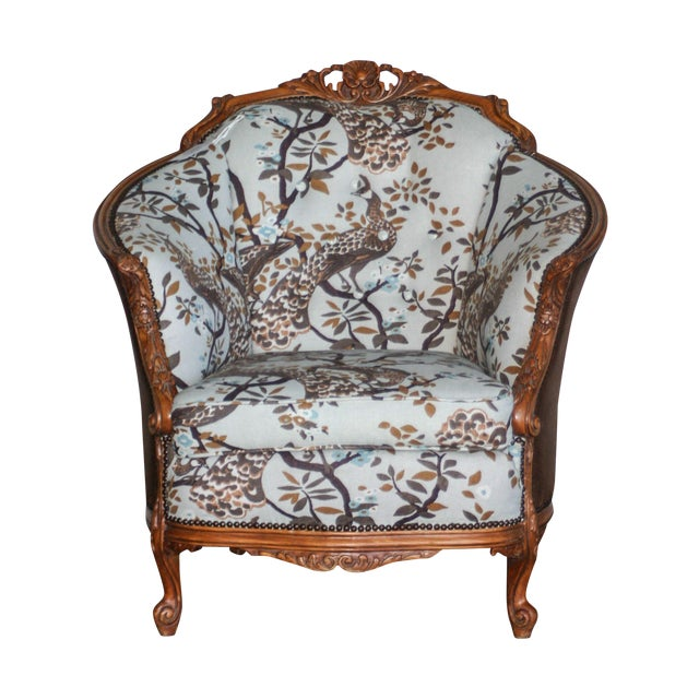 Antique Carved Barrel Chair - Image 1 of 7