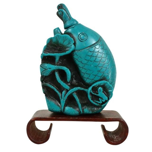 Image of Turquoise Koi Fish Snuff Bottle