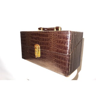 Cinema Equipment Carry Case. Vintage. C. 1940s. Patterned Croc Glossy Canvas Over Wood. Wedge Hinged Top, Pristine