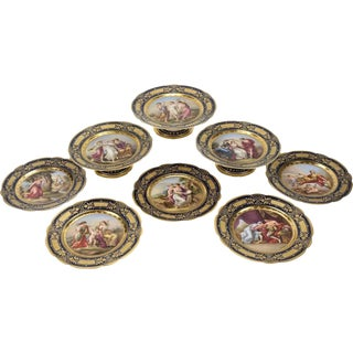 19th Century Royal Vienna Style Dessert Service for 8 - Set of 13