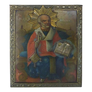 Russian Icon in Oil on Wood