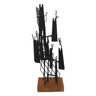 Brutalist Iron Sculpture on Wood Base