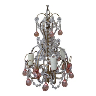 Petite Pink Drop Crystal Chandelier