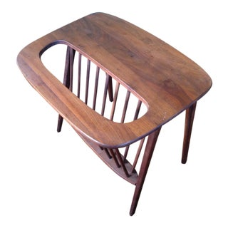 Arthur Umanoff Walnut Side Table/Magazine Rack