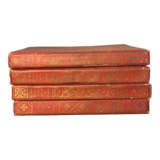 Vintage Red & Gold Pocket Books - Set of 4