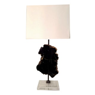 Sliced Petrified Wood Lamps - A Pair